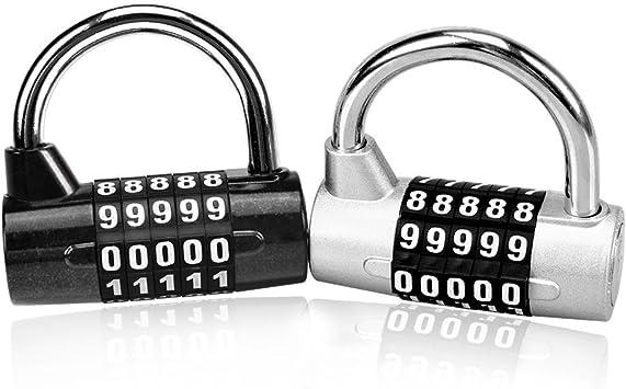 Astarye Combination Padlock 2 Pack con candado antirruido ajustable de 5 dígitos con dial liso para escuela, outdoor, equipaje de viaje, maleta Caja de herramientas, gimnasio y Sports: Amazon.es: Equipaje