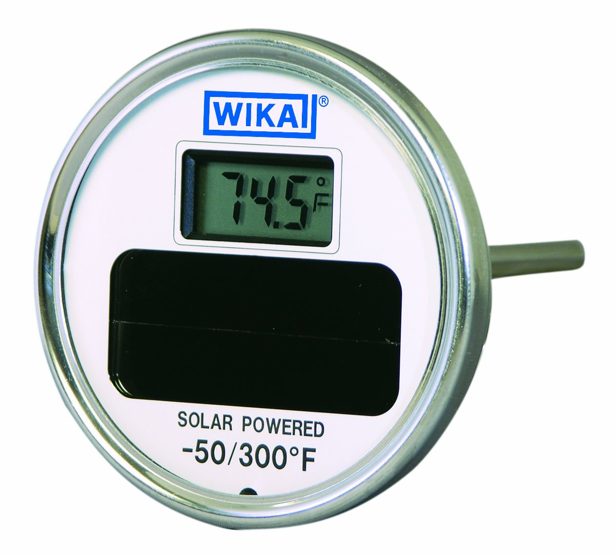 WIKA TI.80 Stainless Steel 304  Solar Digital Thermometer, -50/300 Degrees F, 9'' Stem, 1/2'' NPT Connection, Center Back Mount