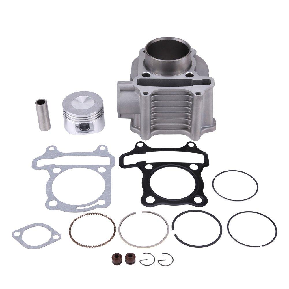 Qiilu Motorcycle Cylinder Piston Ring Gasket Kit Engine Cylinder Piston Kit for GY6/125CC/150CC/152QMI