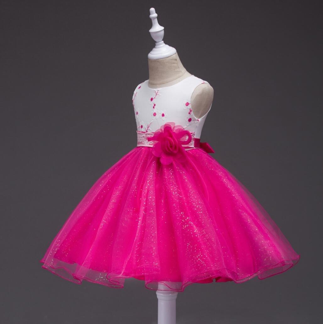 Niña Rose Flowe Princesa Fiesta Vestido Tul boda vestido de dama de ...