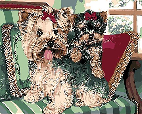 JynXos DIY Paint By Number 16 X 20 Kit Cute Dogs Without Wooden Frame