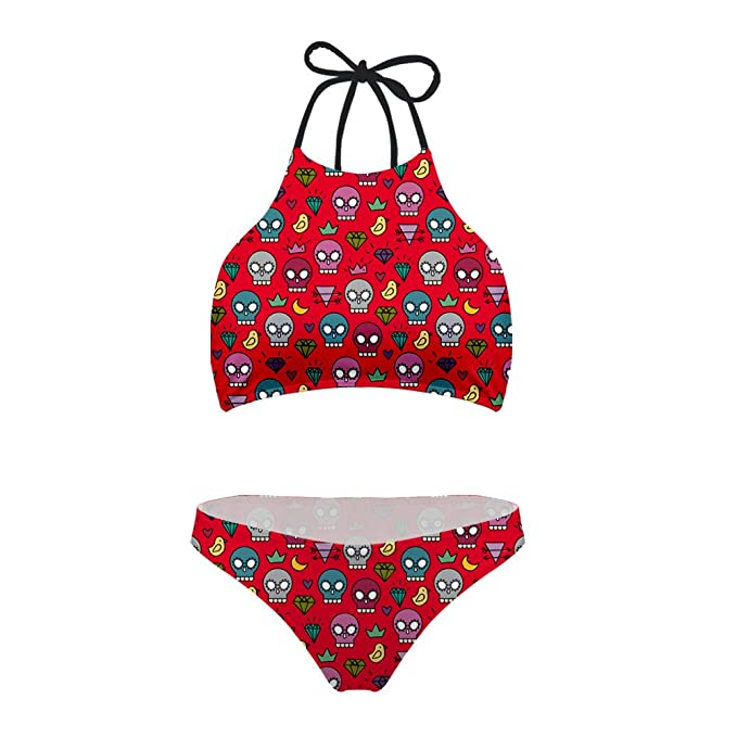 12954cff7c FOR U DESIGNS Red Women Bikini Set Skull Padding Swimsuit Stretchy Size S