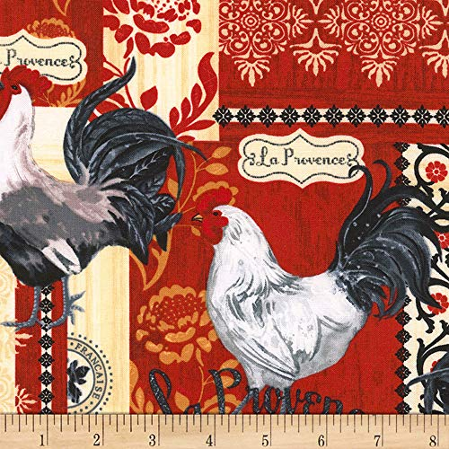 (Timeless Treasures 0548339 Rise and Shine French Rooster Patchwork Red Fabric by The Yard,)