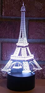 AMPERSAND SHOPS LED Optical Illusion Color Changing Laser Cut Precision Magical Paris Eiffel Tower Lights Lamp