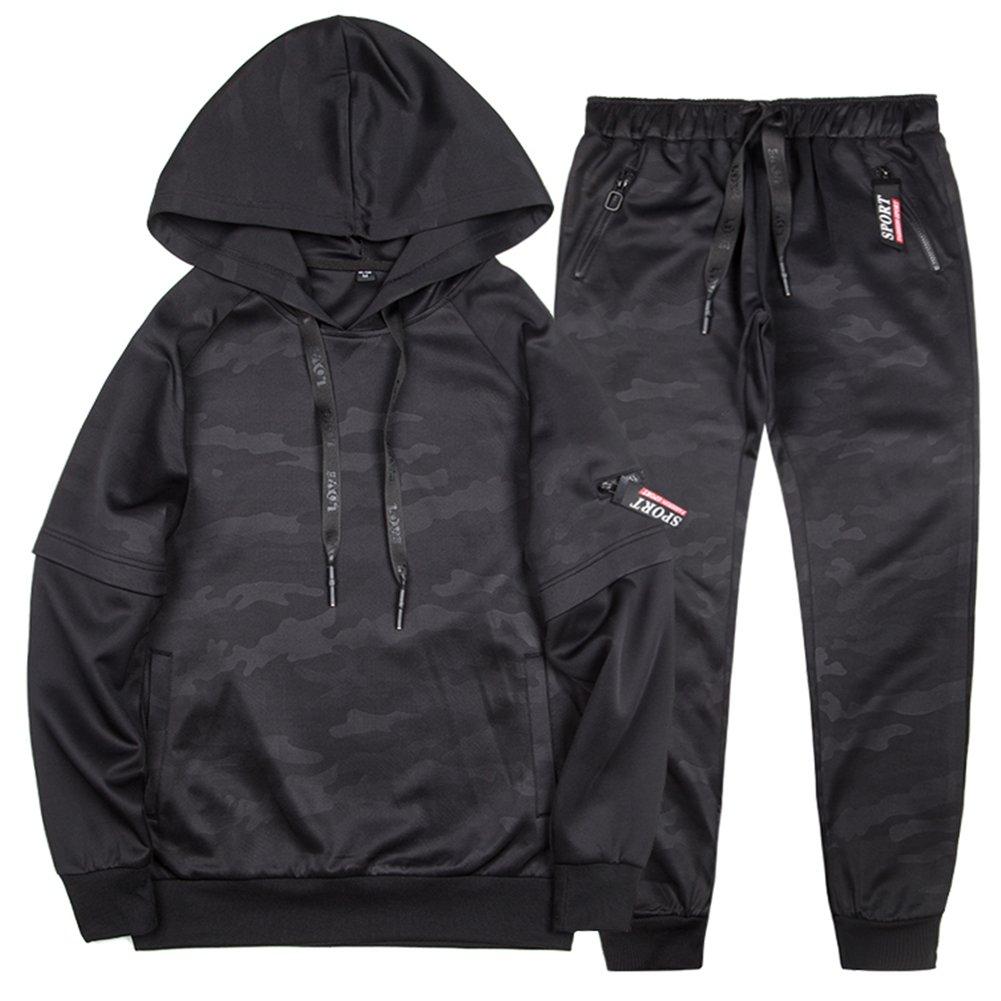 MANLUODANNI Men's Pullover Athletic Hoodie Jogger Sweat Suit Running Tracksuit Black L