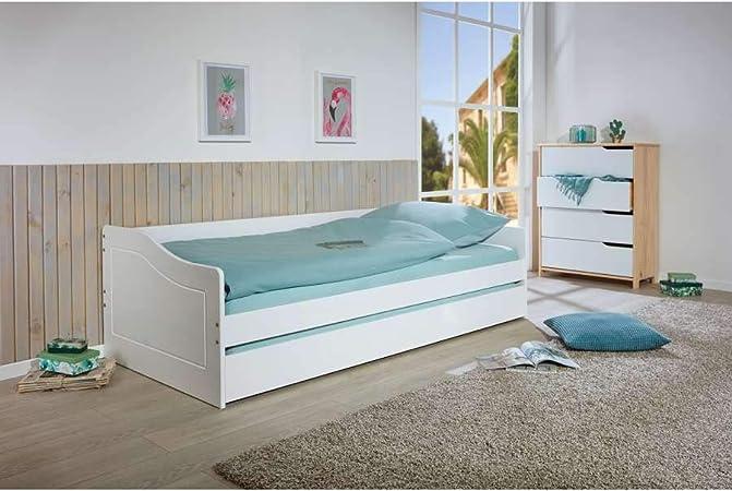 lit banquette avec un tiroir lit ou de rangement l 208 l 97 xh 62 cm blanc