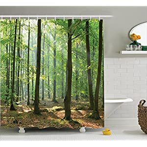 Ambesonne Farm House Decor Collection, Morning In The Forest Freshness Natural Environment Magical Outdoor Picture Print, Polyester Fabric Bathroom Shower Curtain Set with Hooks, Green Brown