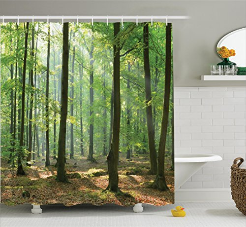 Ambesonne Farm House Decor Collection, Morning In The Forest Freshness Natural Environment Magical Outdoor Picture Print, Polyester Fabric Bathroom Shower Curtain, 75 Inches Long, Green Brown - Natural Outdoor Fabric