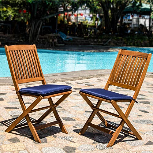 Acacia Wood Indoor Outdoor Patio Foldable Dining Chairs | Navy Blue Cushions | Patio, Garden, Yard | Natural Finish| 2 Piece