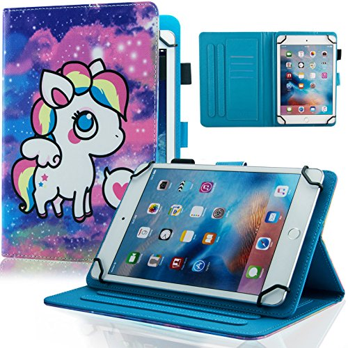sal Case, Dteck Slim Light PU Leather Protective Case with [Card Slots] Pretty Cute Cartoon Folio Flip Stand Wallet Case Cover for All 9.5-10.5 inch Tablet,Purple Pony ()