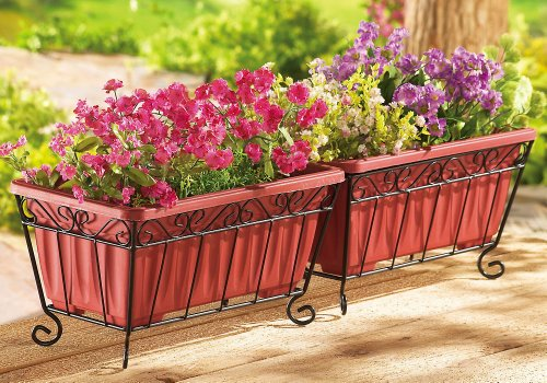 Collections Etc Terra Cotta Garden Planters & Iron Stand - Set Of 2, Orange - Terra Cotta Sculpture