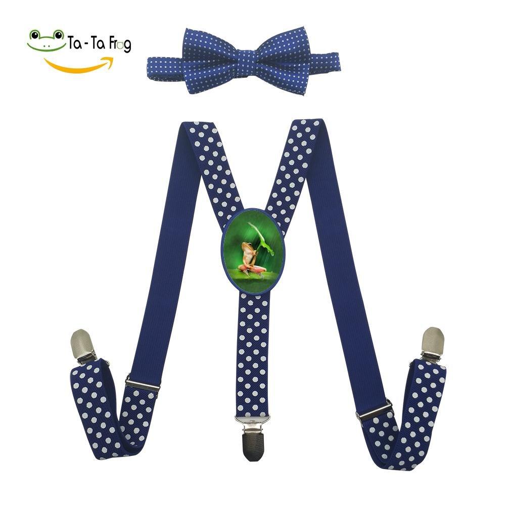 Xiacai Small Frog Suspender/&Bow Tie Set Adjustable Clip-On Y-Suspender Boys