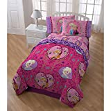 5pc Girls Kids Disney Frozen Comforter Twin Set, Adorable Pink Pretty Movie Themed Bedding + Cute Elsa Pillow Buddy