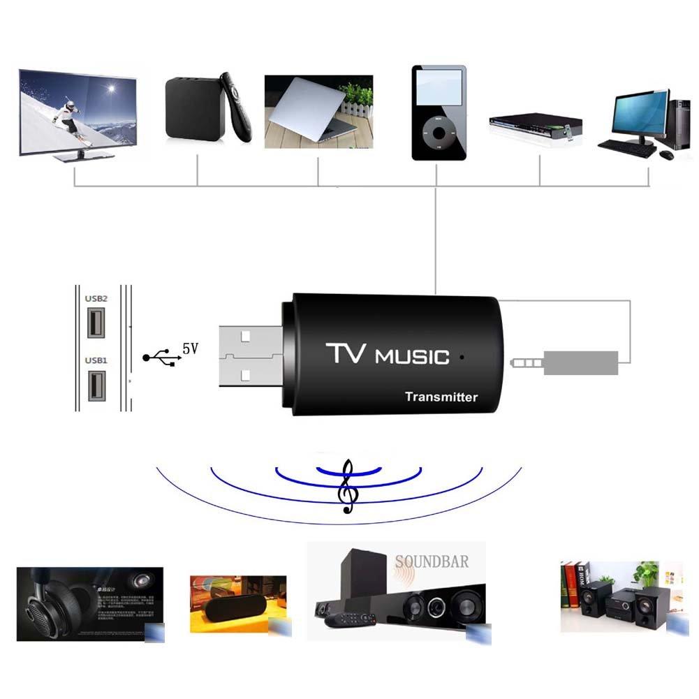 USB Bluetooth Stereo Audio Transmitter Wireless Music Box Dongle Adapter for TV MP3 PC vanpower