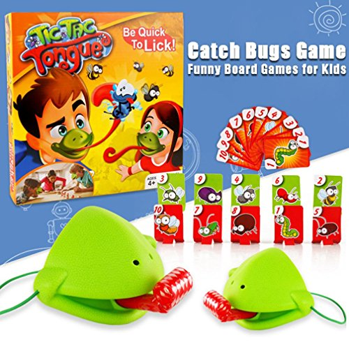 Tic Tac Tongue Catch Bugs Game,KFSO Take Card-Eat Pest Catch,Double Game,Tic Tac Tongue Game-Board Games Kids 7 Up ()
