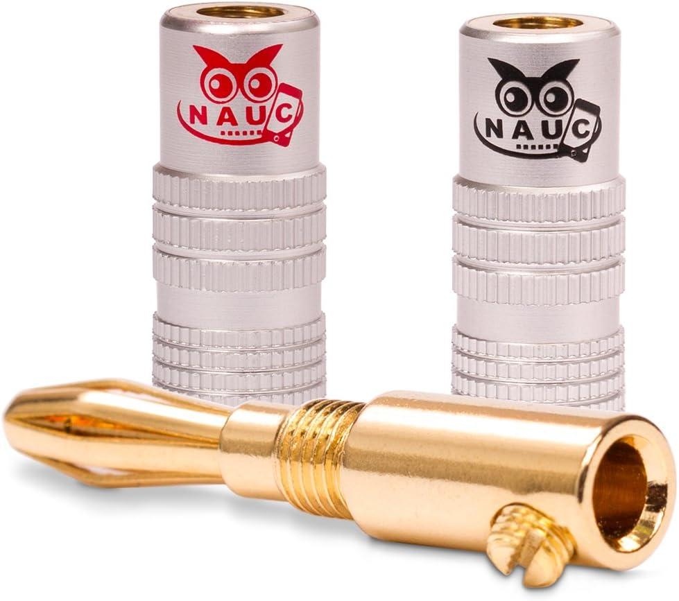 NAUC 4X Bananenstecker vergoldet High End Bananas Banana f/ür Kabel bis 6mm/² 24K