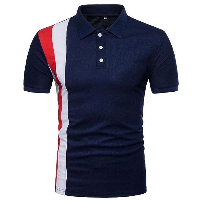 Longra☾ Camiseta Hombre, Hombres de la Personalidad de Moda de Manga Larga Remiendo Delgado Camiseta de Manga Corta Blusa: Amazon.es: Ropa y accesorios
