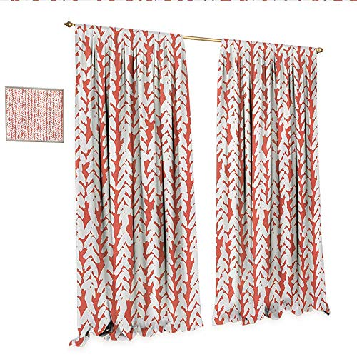 Coral Waterproof Window Curtain Hand Painted Braids Vertical Pattern Bohemian Hipster Fashion Chevron Ethnic Artwork Waterproof Window Curtain W96 x L96 Coral White.jpg