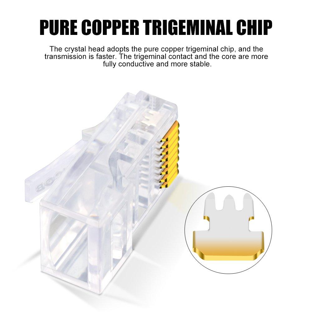 100 Pieces CNCOB RJ45 Connectors Cat5E RJ45 Plug 30 Pieces Gold Plated 8P8C Ethernet Network Plug