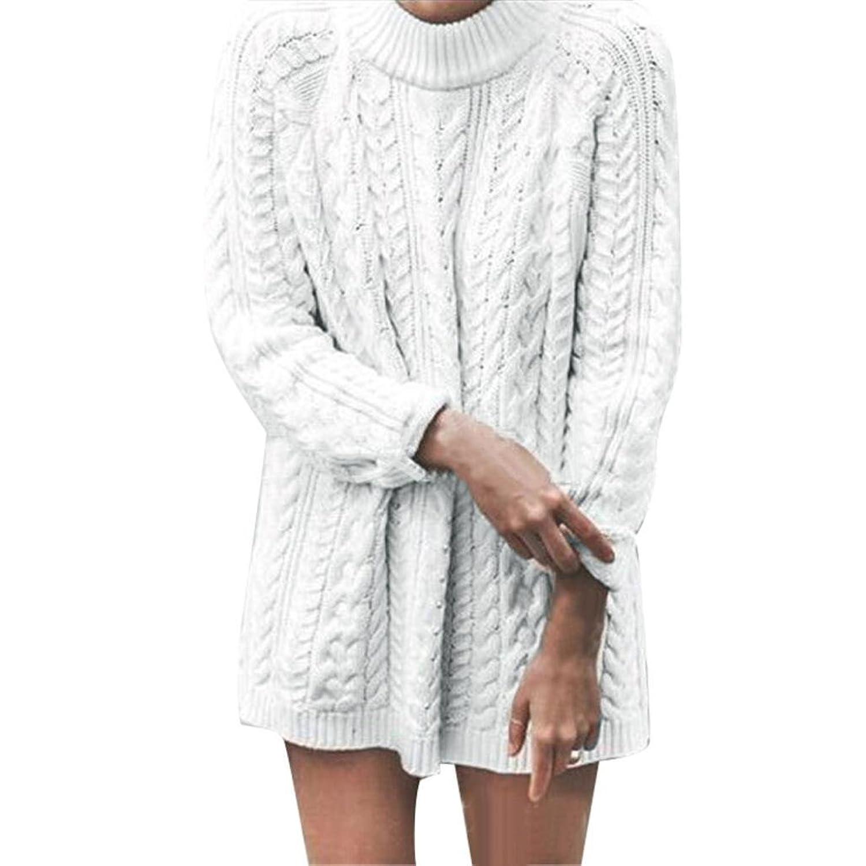 Inkach Women Long Sleeve Knitted Pullover Loose Sweater Jumper Tops Knitwear