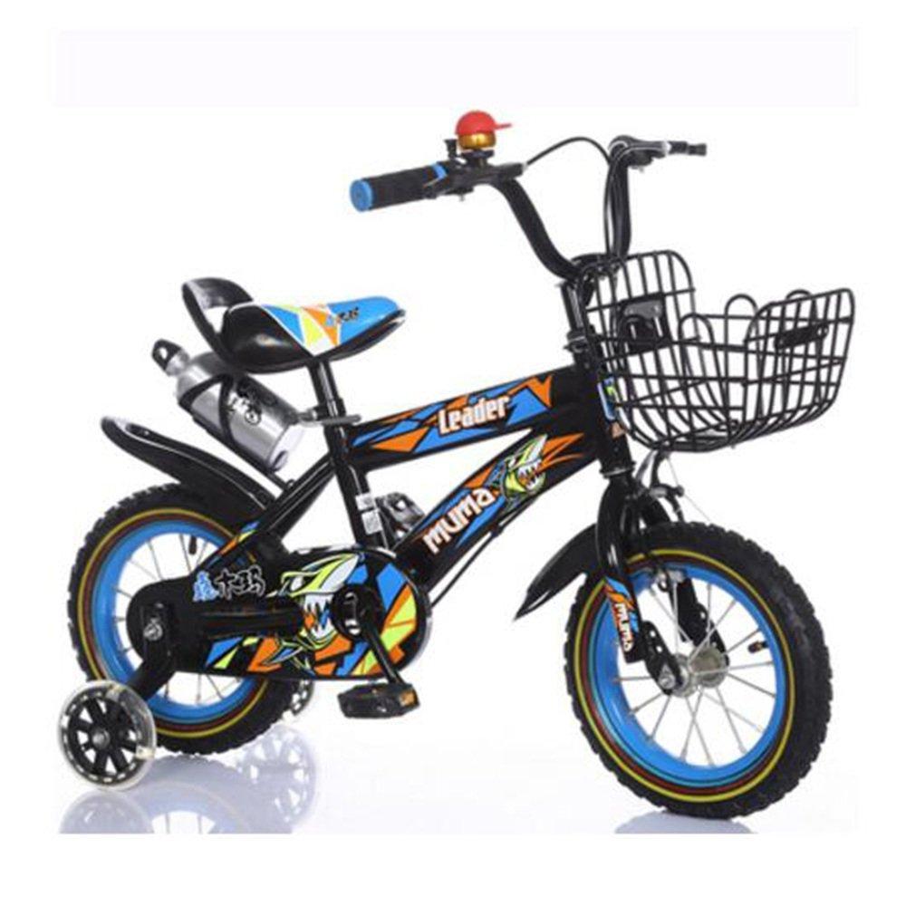 YANGFEI 子ども用自転車 フリースタイルキッズバイク、トレーニングホイール、12インチ、14インチ、16インチ、18インチ、ボーイのバイクとガールズバイク、子供のためのギフト 212歳 B07DWSR78V 12 inch|Black+Blue Black+Blue 12 inch
