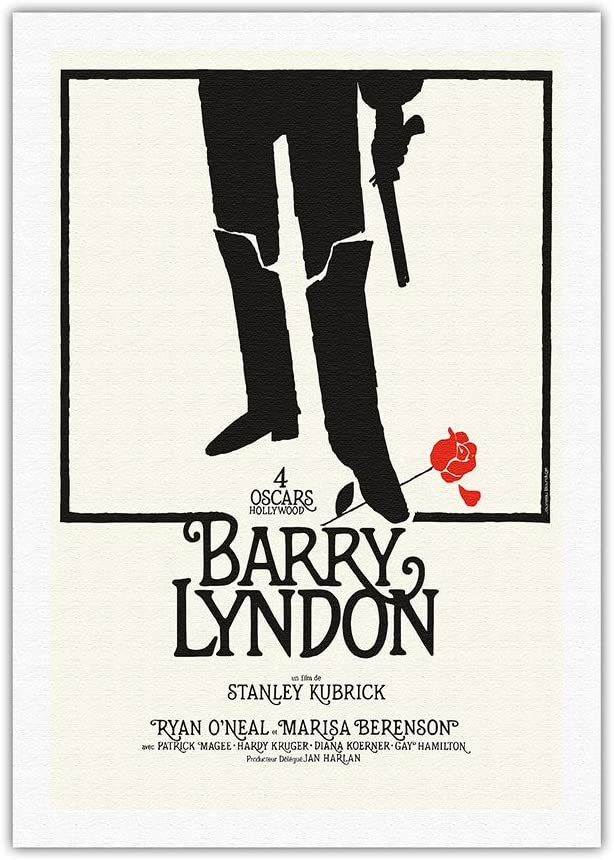 Barry Lyndon by Stanley Kubrick - Starring Ryan O'Neal - Vintage Film Movie Poster by Jouineau Bourduge c.1975 - Fine Art Rolled Canvas Print 27in x 40in