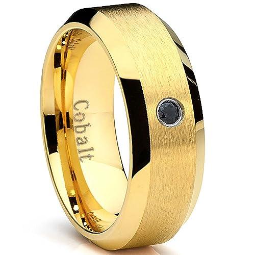 Ultimate Metals Anillo de Matrimonio Cobalto Para Hombre, Banda Acabada Mate Con Diamante Negro 0.05