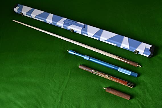 57 Mini-Butt Zebra Wood Inlayed Grade A Ash Snooker//Pool Cue Set Complete with Case Weight 19OZ High Quality Stunning Handmade 4 piece 145cm and a Telescopic Extension