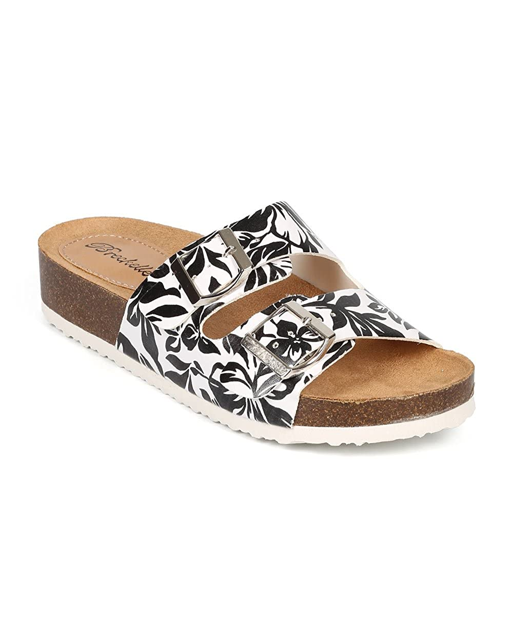 4255ca72f2d Women Tropical Open Toe Double Buckle Slip On Footbed Sandal CF07 - Black  Leatherette