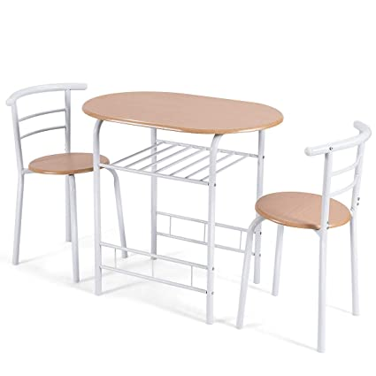 Giantex 3 Piece Dining Set Compact 2 Chairs And Table Set With Metal Frame  And Shelf