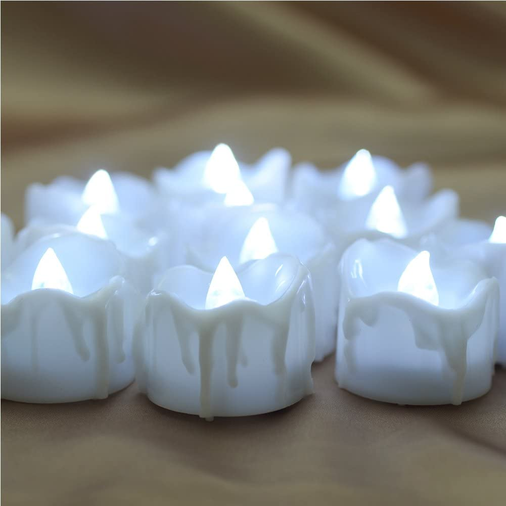 Perfect for Birthday Wedding Party Home Seasonal /& Festival Decor - Cold White PChero Timer Candles 12pcs Flickering Battery Operated LED Flameless Tea Light Candles