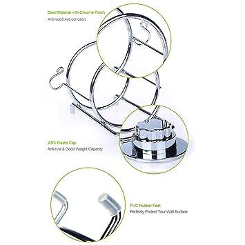 Ecoart Soporte de pared para secador y plancha de pelo, succión con ventosa, acero cromado, con sujeción para el cable: Amazon.es: Hogar