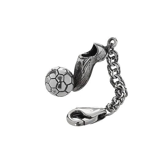 Portachiavi Ciondolo in argento Sterling su Re catena 4 cm Scarpe da calcio  con palla 6159