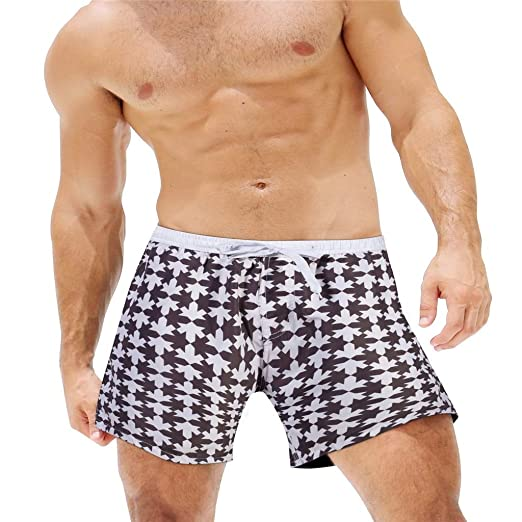 b23c16ce9dabc Simayixx Summer Shorts Men's Swimwear Print Youth Swim Trunks with Pockets Mesh  Lining Teen Boys Beach