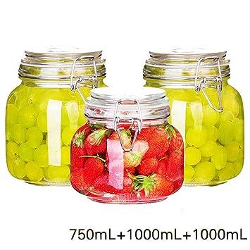 GUHI 3 Piezas de Vidrio Sellado Puede, Papaya Fruit limón Miel Botella, Tarro de Mermelada, enzima Botella, Tanque de Almacenamiento,Yo: Amazon.es: Hogar