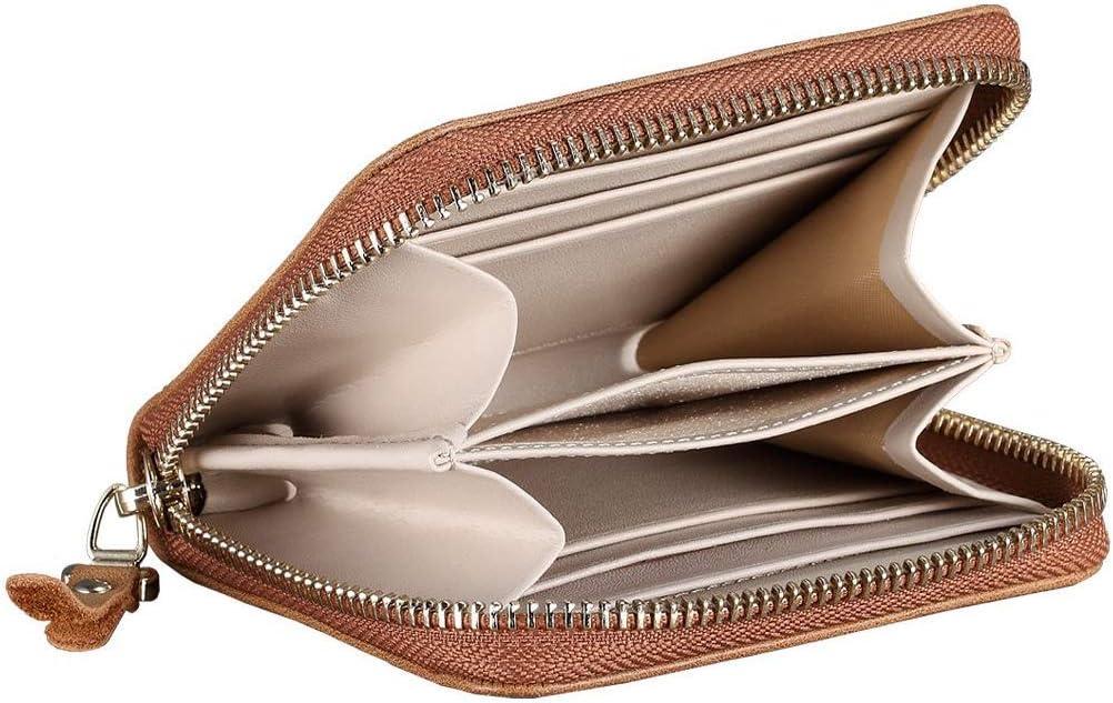 QB-NL-BN Lensun Porte-Monnaie avec Zip Sac /à Main Card Holder en Cuir V/éritable Marron Portefeuille Femme Cuir