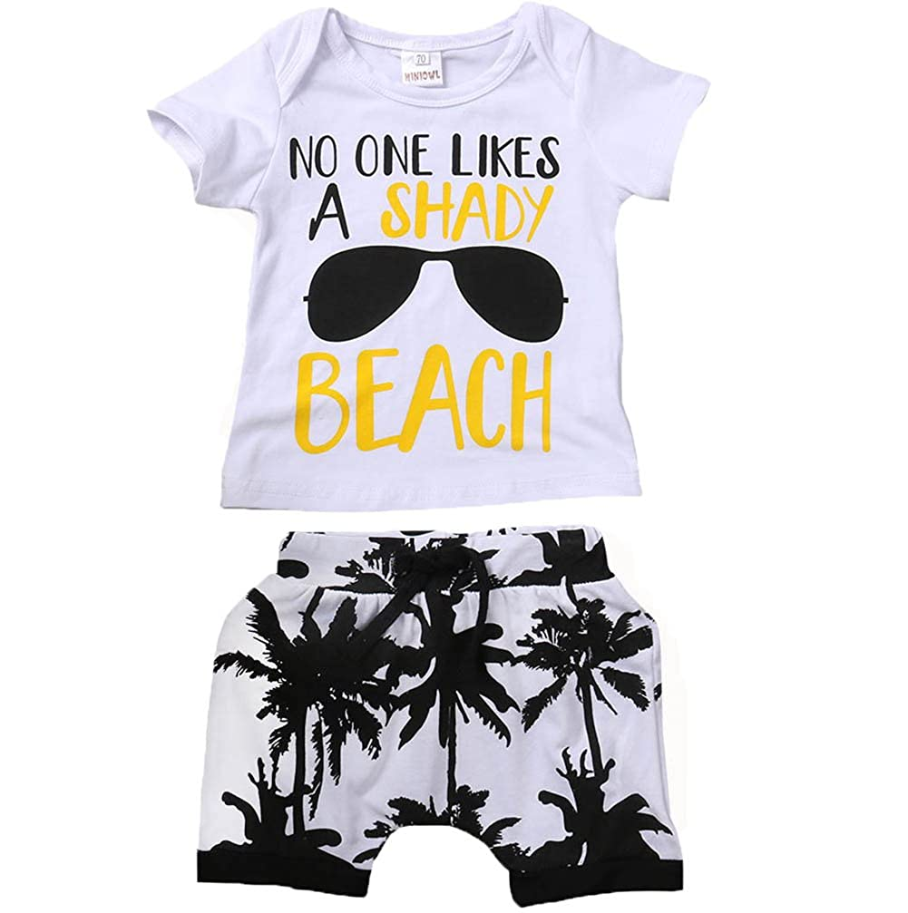 Kids Toddler Baby Boys Girls No ONE Likes A Shady Beach Glasses Shirt and Palm Shorts Set
