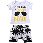 Charm Kingdom Kids Toddler Baby Boys Girls No One Likes A Shady Beach Glasses Shirt and Palm Shorts Set (70 (6-12M), White)