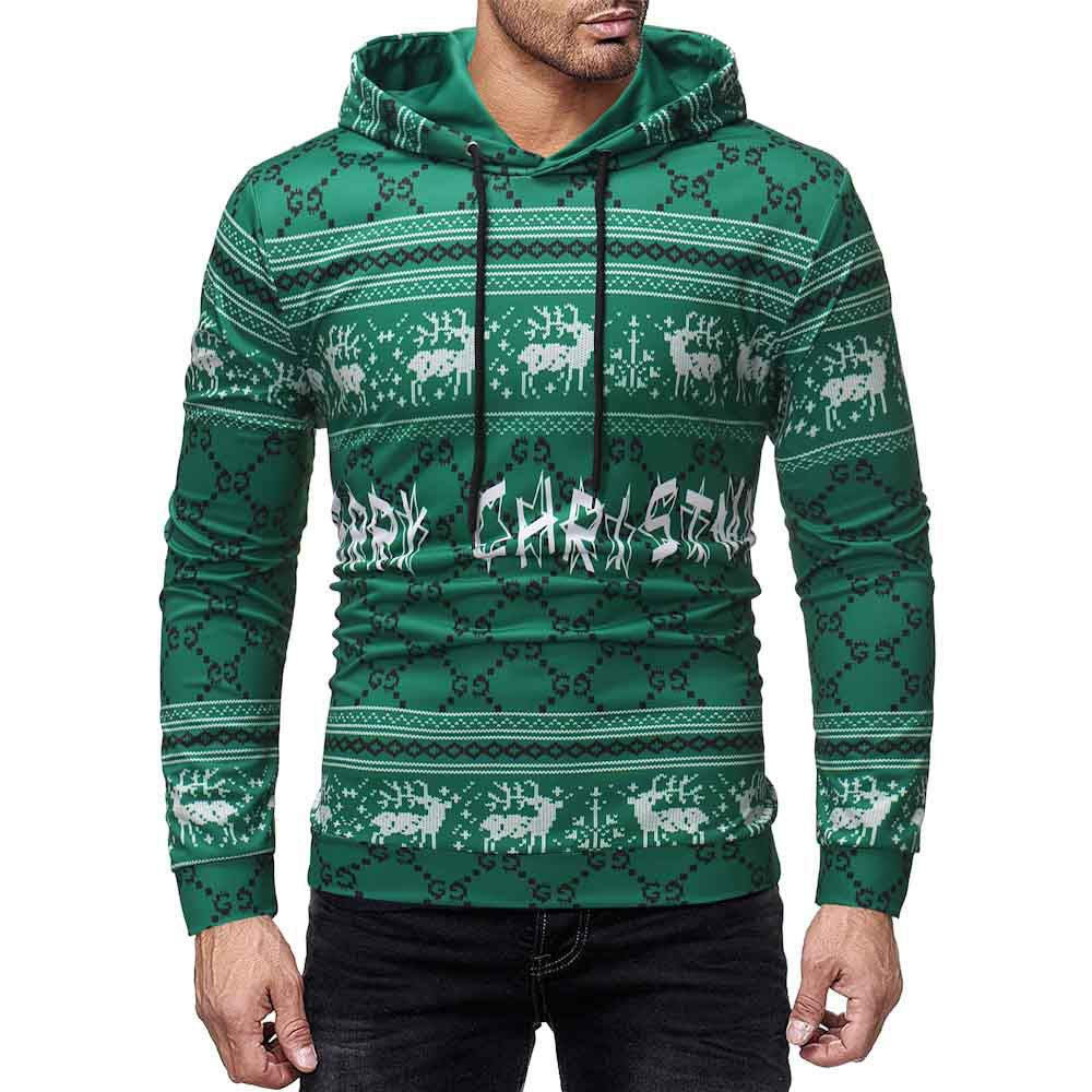 Qinsling Felpa Con Cappuccio Uomo Inverno Maglione Elegante Maniche Lunghe Distintivo Hoodie Sweatshirt Camicetta Dolcevita Stampa Autunnale E Invernale Di Natale Tops