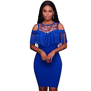 5fa076021d50 Felicity Young Women Round Neck Floral Embroidery Off Shoulder Tassel Ruffle  Slim Fit Bodycon Cocktail Party Midi Dress Blue, X-Large at Amazon Women's  ...