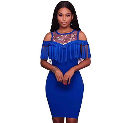 4198c3ca88 Felicity Young Women Round Neck Floral Embroidery Off Shoulder Tassel Ruffle  Slim Fit Bodycon Cocktail Party Midi Dress Blue