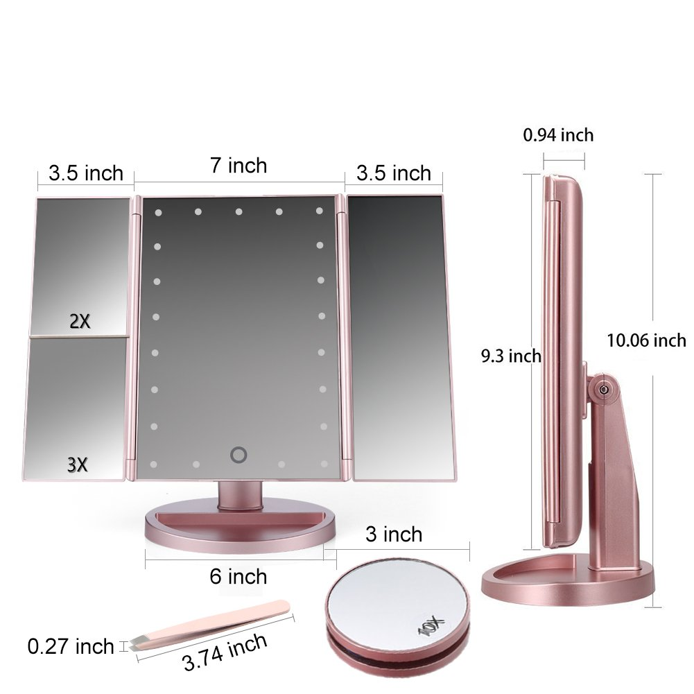 RioRand Lighted Vanity Mirror Rose Gold LED Trifold Makeup Mirror with Touch Screen and Upgraded 6 Warm White Lights - Bonus 10X Magnification Mirror and Eyebrow Tweezer by RioRand (Image #3)