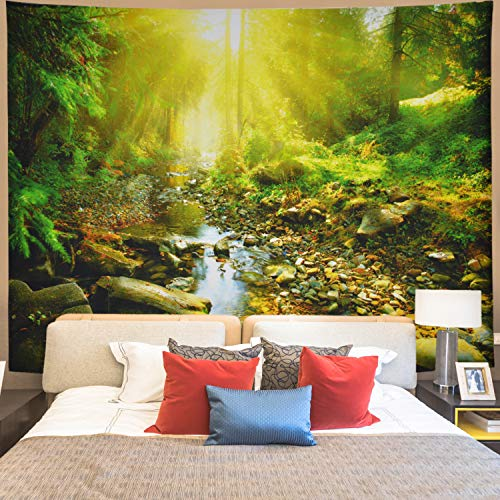 - Gusatanhati Forest Tapestry Sunshine Trees Tapestry Wall Hanging Stream Through Jungle Stones Tapestry Nature Landscape Tapestry Misty Forest Tapestry for Living Room
