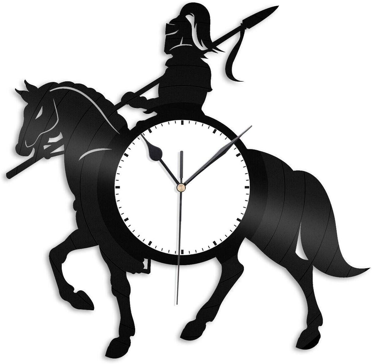 Caballero en Silueta de Caballo Reloj de Pared de Vinilo Amantes de los Animales Mejor decoración de la habitación de Regalo Diseño Vintage Oficina Bar Habitación Decoración del hogar
