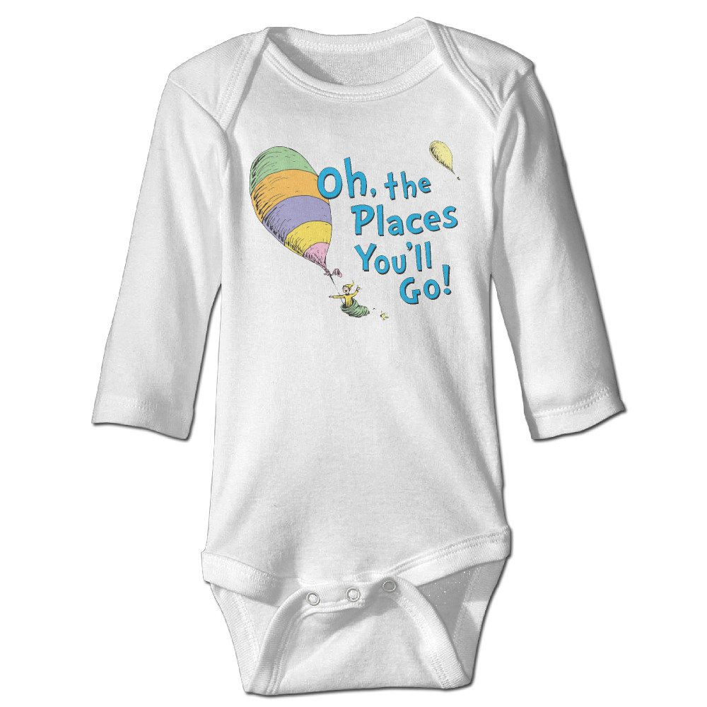 0a77faba4 Amazon.com: Unisex Baby Oh, The Places You'll Go Baby Onesies Long Sleeve  Bodysuit: Clothing