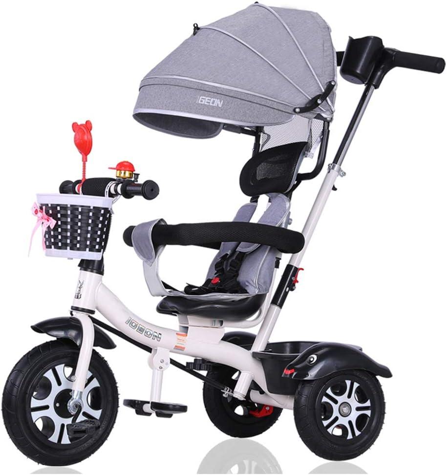 HBSC Ligero Triciclo de niños del bebé Cochecito Trike Bicicletas 1-6 años de Edad, con Parasol Ajustable y Putter, Asiento se Puede Girar, la Rueda de Goma no Inflable 1bicycle Regalo Grey