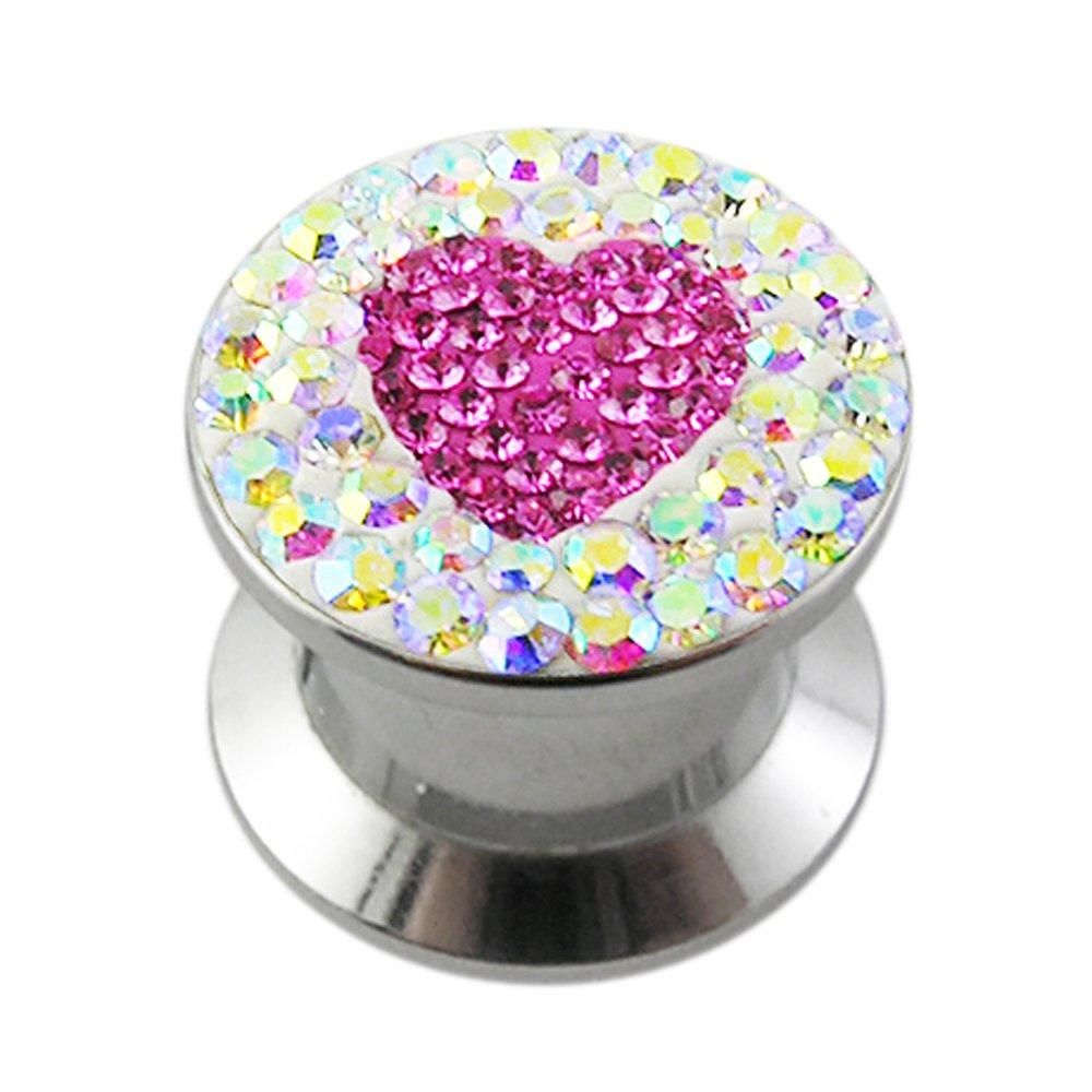 16MM Multi Rainbow Crystal with Pink Sapphire Heart Internal Thread Ear Tunnel Body jewelry