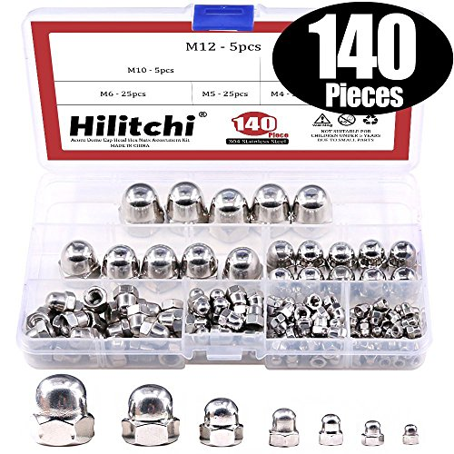 Spring Barrel Nut - Hilitchi 140-Pcs M3 M4 M5 M6 M8 M10 M12 Acorn Dome Cap Head Hex Nuts Assortment Kit, 304Stainless Steel