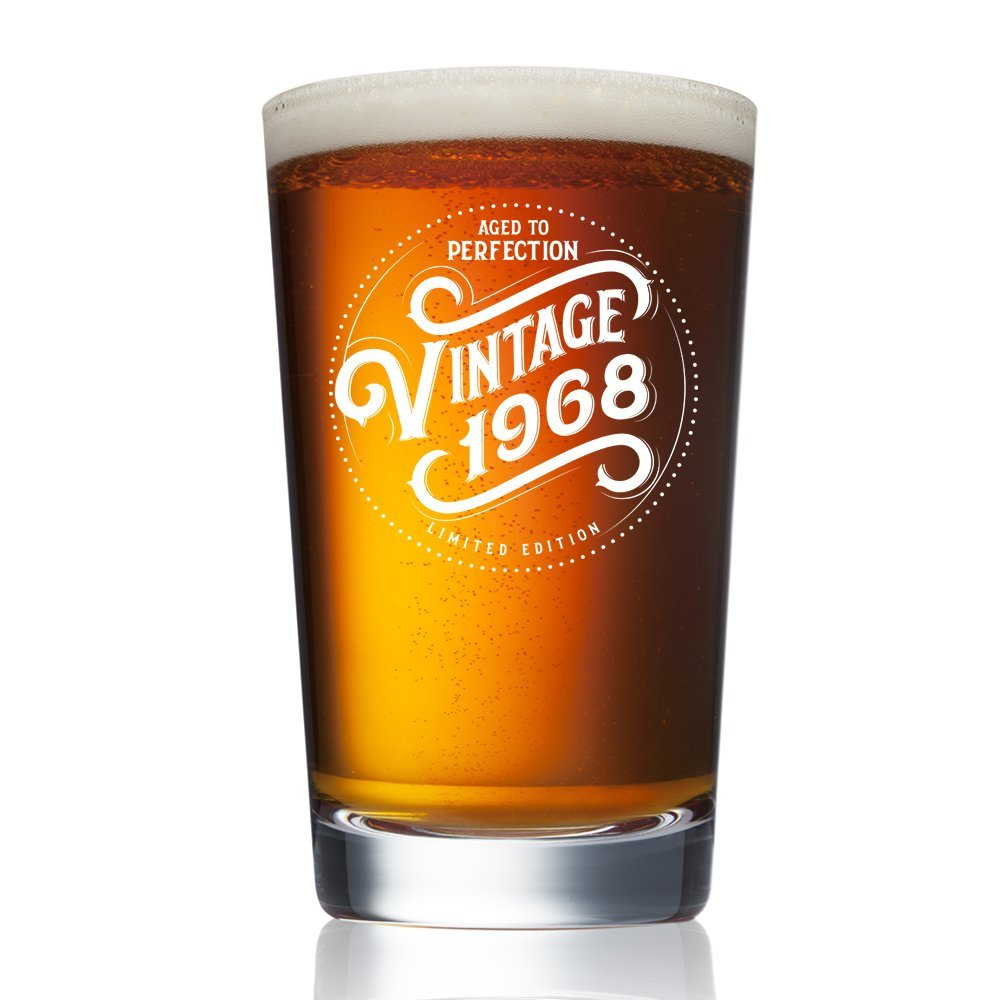 1968 50th Birthday Gifts for Women and Men Beer Glass - Funny Vintage Anniversary Gift Ideas for Him, Her, Dad, Mom, Husband or Wife. 16 oz Pint Craft Bar Glasses. Party Decorations IPA Mug Cup