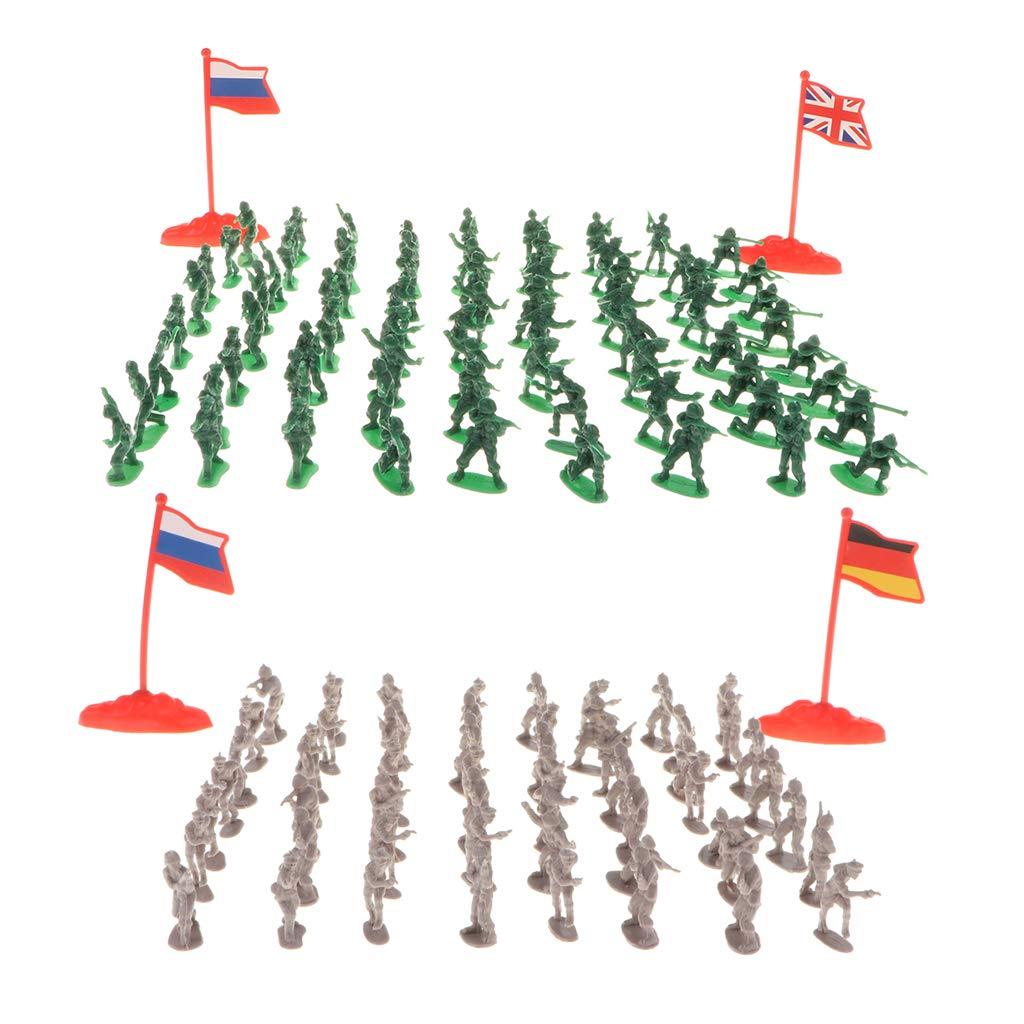 Homyl 400pcs 2cm Soldat de l'Armée Militaire Modèle Figures Enfants Jouets Educatifs